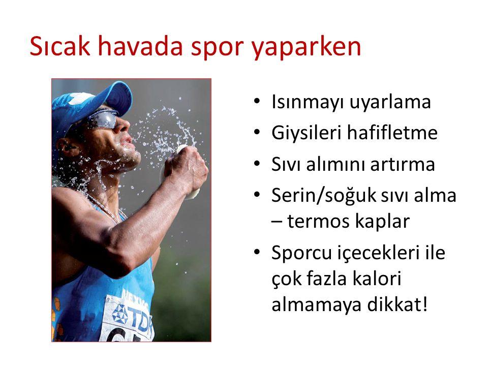 Sıcak havada spor yaparken Isınmayı uyarlama Giysileri hafifletme Sıvı alımını artırma Serin/soğuk sıvı alma – termos kaplar Sporcu içecekleri ile çok
