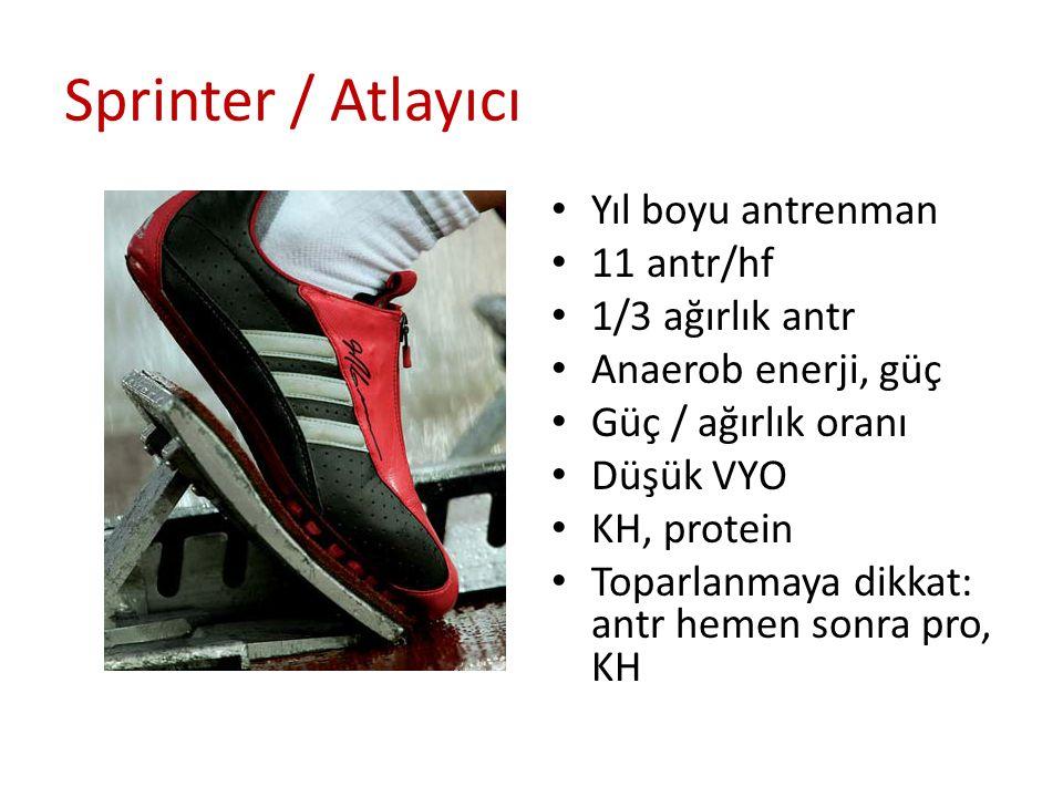 Sprinter / Atlayıcı Yıl boyu antrenman 11 antr/hf 1/3 ağırlık antr Anaerob enerji, güç Güç / ağırlık oranı Düşük VYO KH, protein Toparlanmaya dikkat: