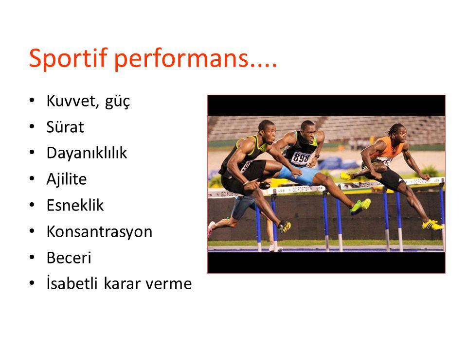 Sportif performans.... Kuvvet, güç Sürat Dayanıklılık Ajilite Esneklik Konsantrasyon Beceri İsabetli karar verme