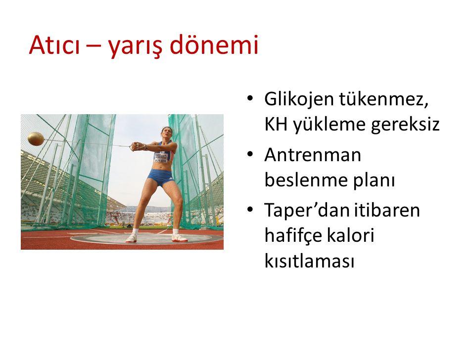 Atıcı – yarış dönemi Glikojen tükenmez, KH yükleme gereksiz Antrenman beslenme planı Taper'dan itibaren hafifçe kalori kısıtlaması