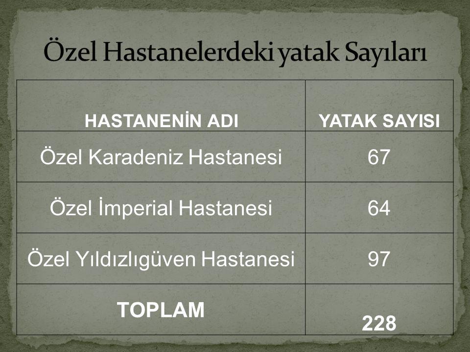 HASTANENİN ADIYATAK SAYISI Özel Karadeniz Hastanesi67 Özel İmperial Hastanesi64 Özel Yıldızlıgüven Hastanesi97 TOPLAM 228