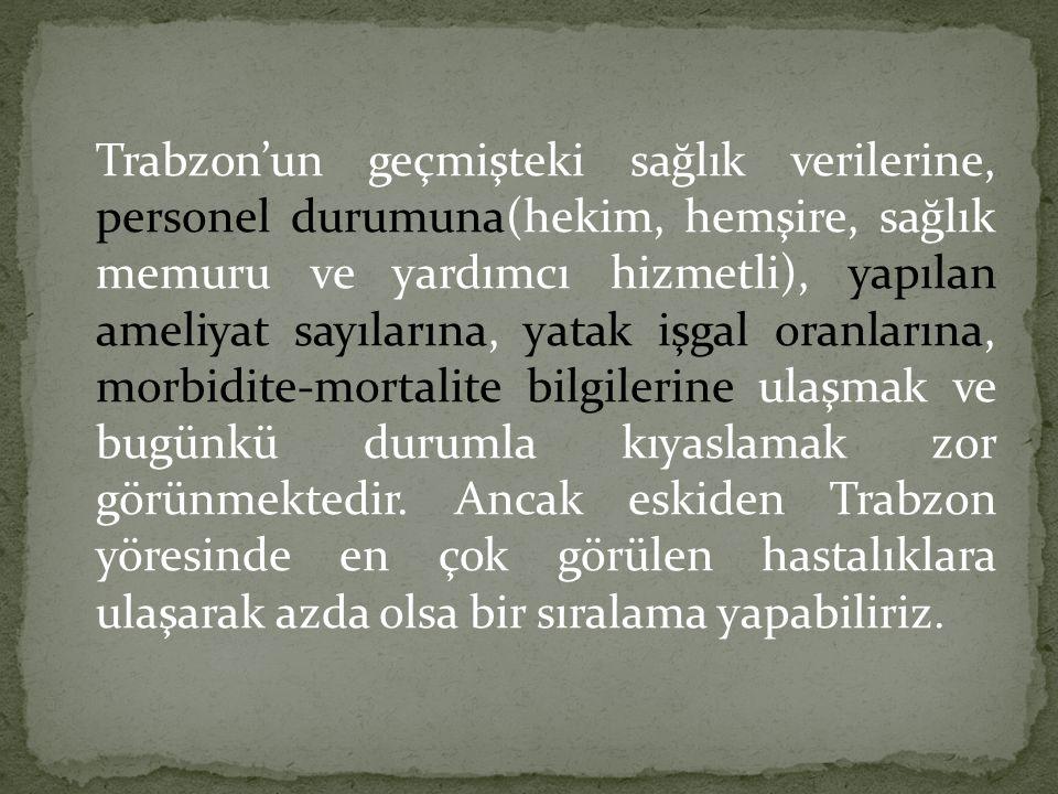 Trabzon'un geçmişteki sağlık verilerine, personel durumuna(hekim, hemşire, sağlık memuru ve yardımcı hizmetli), yapılan ameliyat sayılarına, yatak işgal oranlarına, morbidite-mortalite bilgilerine ulaşmak ve bugünkü durumla kıyaslamak zor görünmektedir.