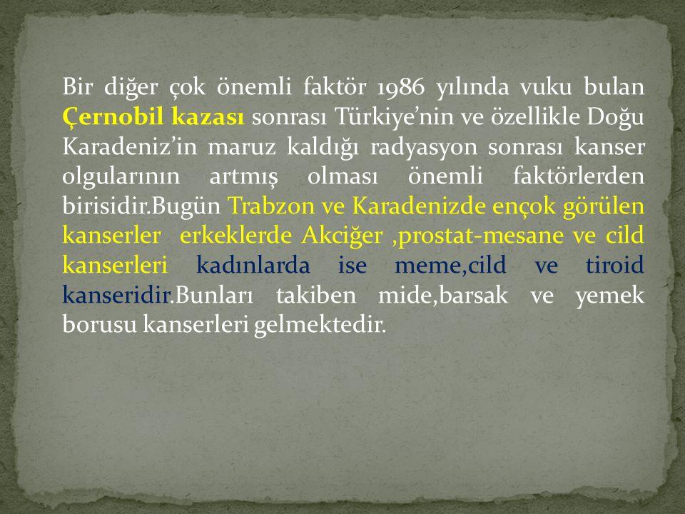 Bir diğer çok önemli faktör 1986 yılında vuku bulan Çernobil kazası sonrası Türkiye'nin ve özellikle Doğu Karadeniz'in maruz kaldığı radyasyon sonrası kanser olgularının artmış olması önemli faktörlerden birisidir.Bugün Trabzon ve Karadenizde ençok görülen kanserler erkeklerde Akciğer,prostat-mesane ve cild kanserleri kadınlarda ise meme,cild ve tiroid kanseridir.Bunları takiben mide,barsak ve yemek borusu kanserleri gelmektedir.