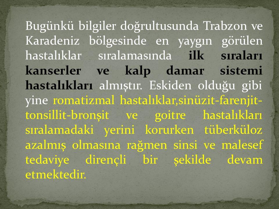 Bugünkü bilgiler doğrultusunda Trabzon ve Karadeniz bölgesinde en yaygın görülen hastalıklar sıralamasında ilk sıraları kanserler ve kalp damar sistemi hastalıkları almıştır.