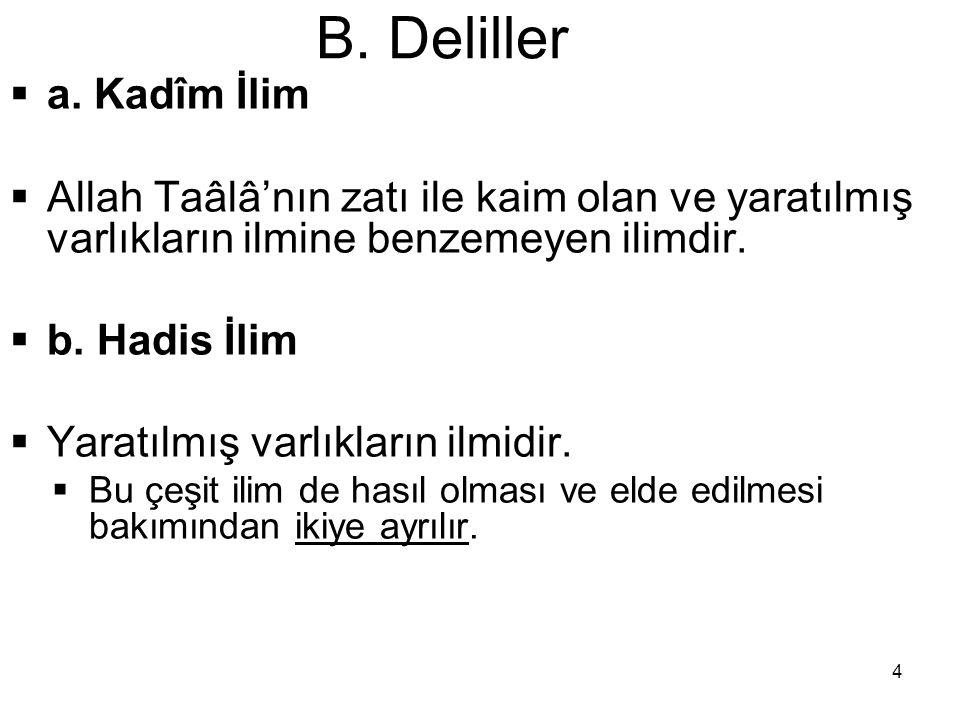 15 B.Deliller  b. Kat î-Zannî Delil  Naklî delil ya kat î veya zannî olur.