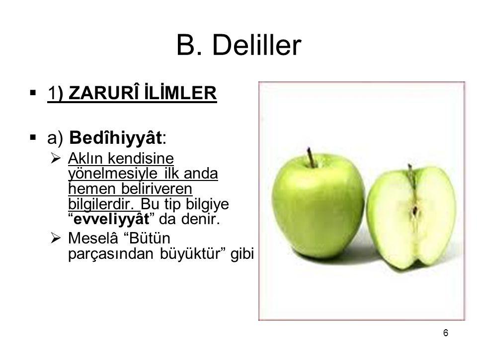 """B. Deliller  1) ZARURÎ İLİMLER  a) Bedîhiyyât:  Aklın kendisine yönelmesiyle ilk anda hemen beliriveren bilgilerdir. Bu tip bilgiye """"evveliyyât"""" da"""