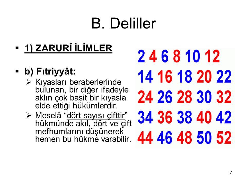 B. Deliller  1) ZARURÎ İLİMLER  b) Fıtriyyât:  Kıyasları beraberlerinde bulunan, bir diğer ifadeyle aklın çok basit bir kıyasla elde ettiği hükümle