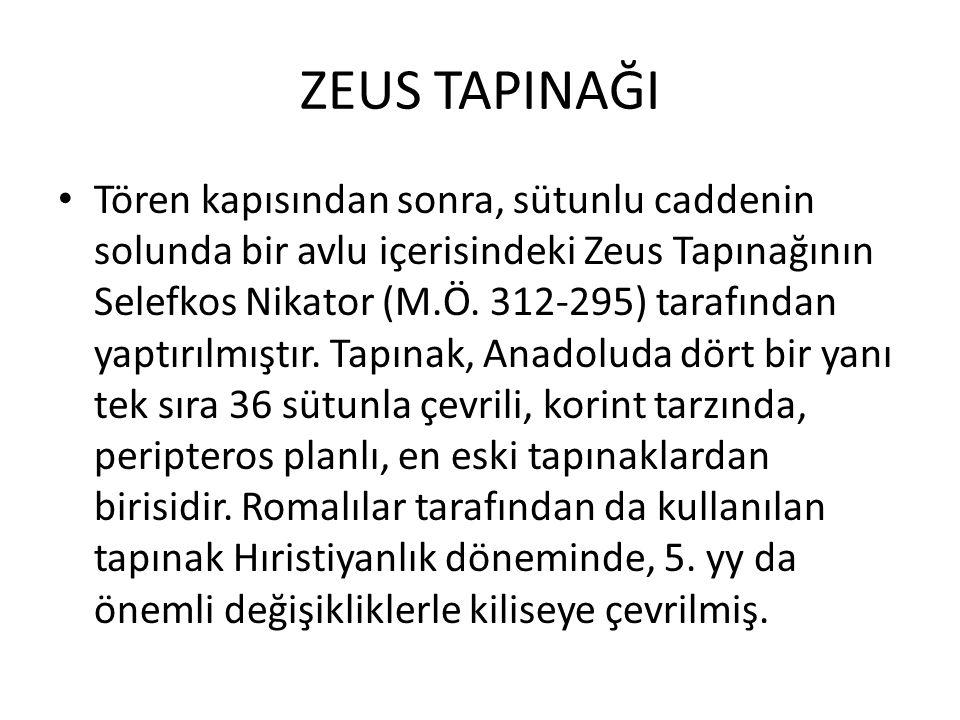ZEUS TAPINAĞI Tören kapısından sonra, sütunlu caddenin solunda bir avlu içerisindeki Zeus Tapınağının Selefkos Nikator (M.Ö. 312-295) tarafından yaptı