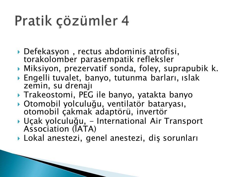  Defekasyon, rectus abdominis atrofisi, torakolomber parasempatik refleksler  Miksiyon, prezervatif sonda, foley, suprapubik k.  Engelli tuvalet, b