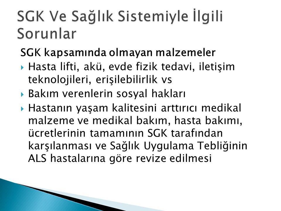 SGK kapsamında olmayan malzemeler  Hasta lifti, akü, evde fizik tedavi, iletişim teknolojileri, erişilebilirlik vs  Bakım verenlerin sosyal hakları