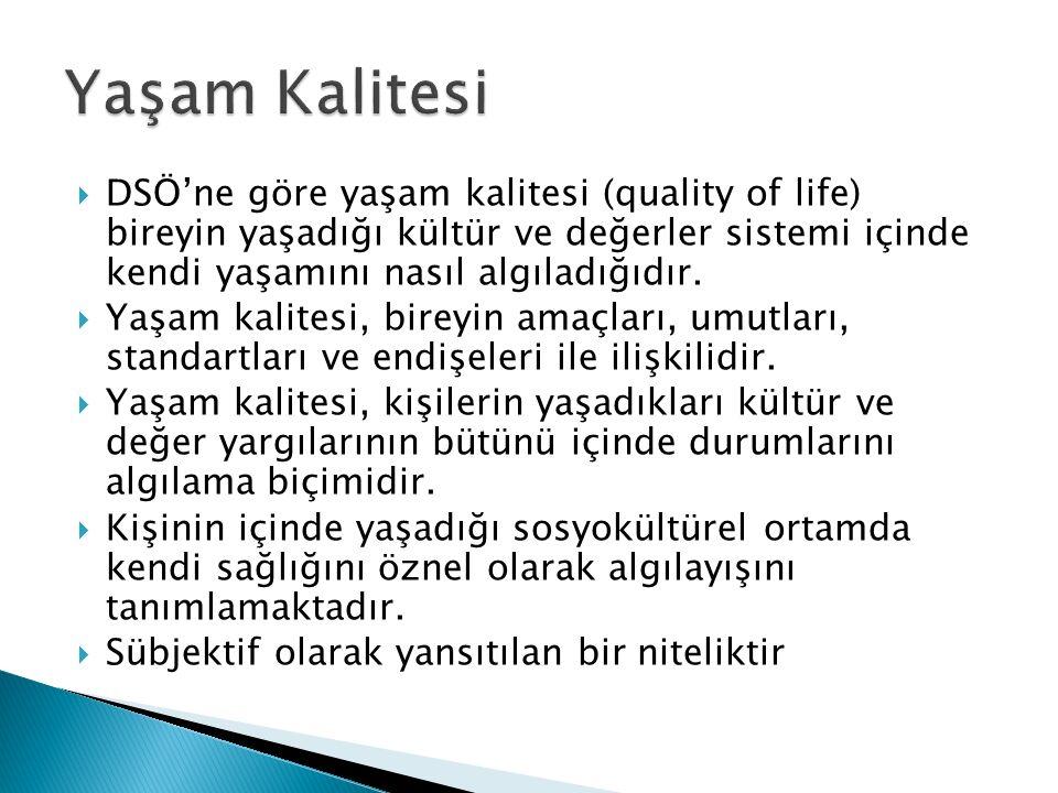  DSÖ'ne göre yaşam kalitesi (quality of life) bireyin yaşadığı kültür ve değerler sistemi içinde kendi yaşamını nasıl algıladığıdır.  Yaşam kalitesi