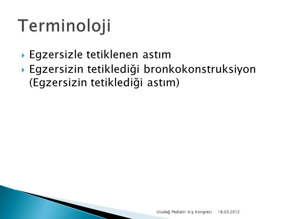 Egzersizle tetiklenen astım  Egzersizin tetiklediği bronkokonstruksiyon (Egzersizin tetiklediği astım) 18.03.2012 Uludağ Pediatri Kış Kongresi