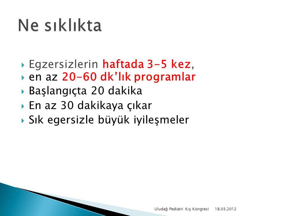  Egzersizlerin haftada 3-5 kez,  en az 20-60 dk'lık programlar  Başlangıçta 20 dakika  En az 30 dakikaya çıkar  Sık egersizle büyük iyileşmeler 18.03.2012 Uludağ Pediatri Kış Kongresi
