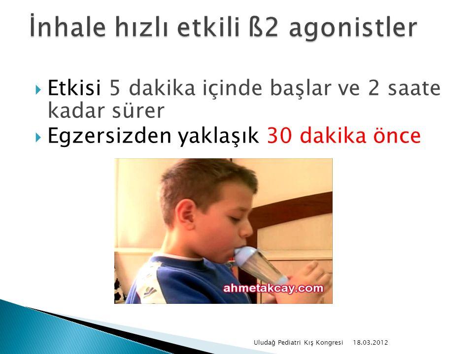  Etkisi 5 dakika içinde başlar ve 2 saate kadar sürer  Egzersizden yaklaşık 30 dakika önce 18.03.2012 Uludağ Pediatri Kış Kongresi