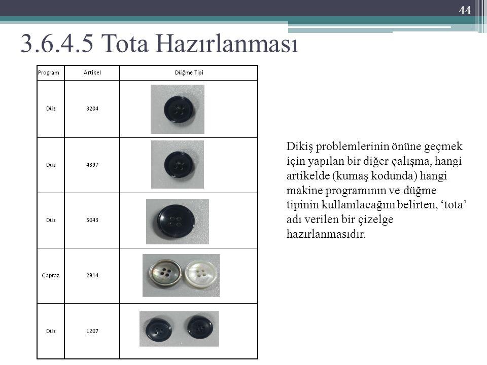 3.6.4.5 Tota Hazırlanması 44 Dikiş problemlerinin önüne geçmek için yapılan bir diğer çalışma, hangi artikelde (kumaş kodunda) hangi makine programının ve düğme tipinin kullanılacağını belirten, 'tota' adı verilen bir çizelge hazırlanmasıdır.
