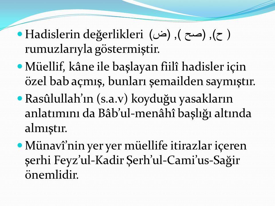 Hadislerin değerlikleri ح ), ( صح ), ( ض ) ) rumuzlarıyla göstermiştir. Müellif, kâne ile başlayan fiilî hadisler için özel bab açmış, bunları şemaild