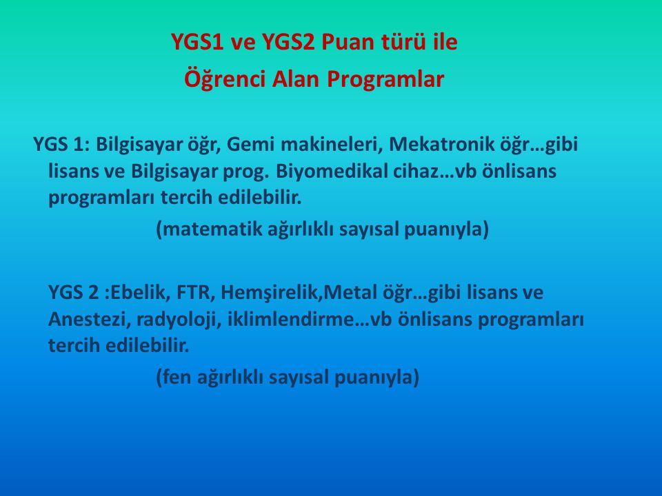 YGS1 ve YGS2 Puan türü ile Öğrenci Alan Programlar YGS 1: Bilgisayar öğr, Gemi makineleri, Mekatronik öğr…gibi lisans ve Bilgisayar prog. Biyomedikal