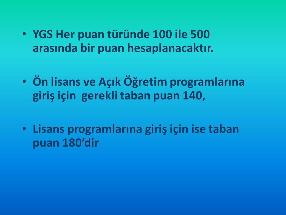 YGS Her puan türünde 100 ile 500 arasında bir puan hesaplanacaktır. Ön lisans ve Açık Öğretim programlarına giriş için gerekli taban puan 140, Lisans