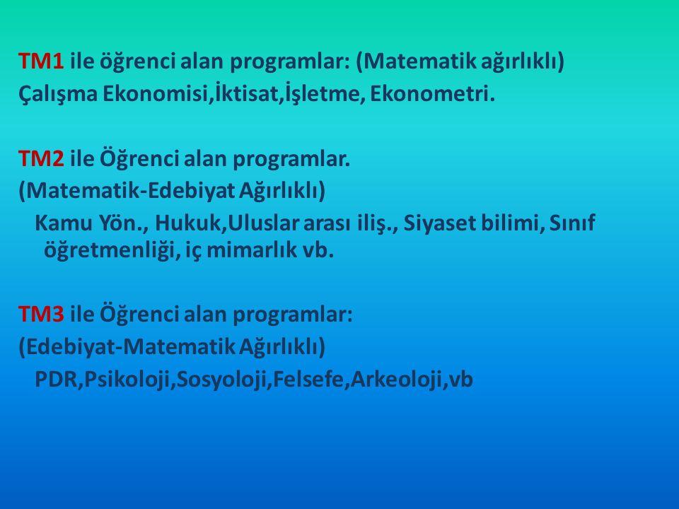 TM1 ile öğrenci alan programlar: (Matematik ağırlıklı) Çalışma Ekonomisi,İktisat,İşletme, Ekonometri. TM2 ile Öğrenci alan programlar. (Matematik-Edeb