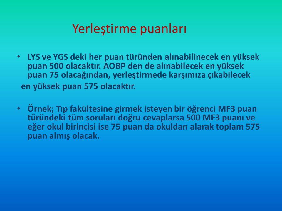 Yerleştirme puanları LYS ve YGS deki her puan türünden alınabilinecek en yüksek puan 500 olacaktır. AOBP den de alınabilecek en yüksek puan 75 olacağı