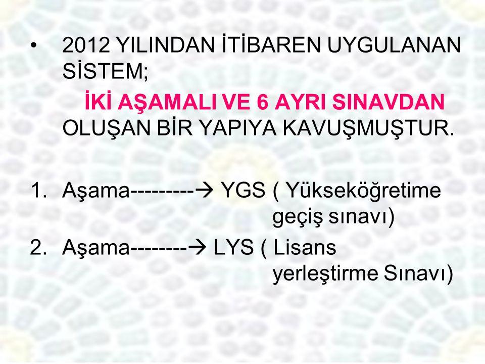2012 YILINDAN İTİBAREN UYGULANAN SİSTEM; İKİ AŞAMALI VE 6 AYRI SINAVDAN OLUŞAN BİR YAPIYA KAVUŞMUŞTUR.
