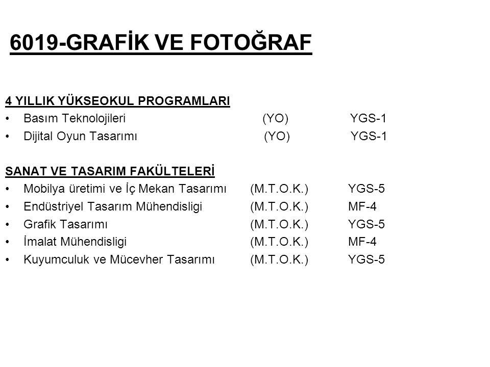 6019-GRAFİK VE FOTOĞRAF 4 YILLIK YÜKSEOKUL PROGRAMLARI Basım Teknolojileri (YO) YGS-1 Dijital Oyun Tasarımı (YO) YGS-1 SANAT VE TASARIM FAKÜLTELERİ Mobilya üretimi ve İç Mekan Tasarımı(M.T.O.K.) YGS-5 Endüstriyel Tasarım Mühendisligi (M.T.O.K.) MF-4 Grafik Tasarımı (M.T.O.K.) YGS-5 İmalat Mühendisligi (M.T.O.K.) MF-4 Kuyumculuk ve Mücevher Tasarımı(M.T.O.K.) YGS-5