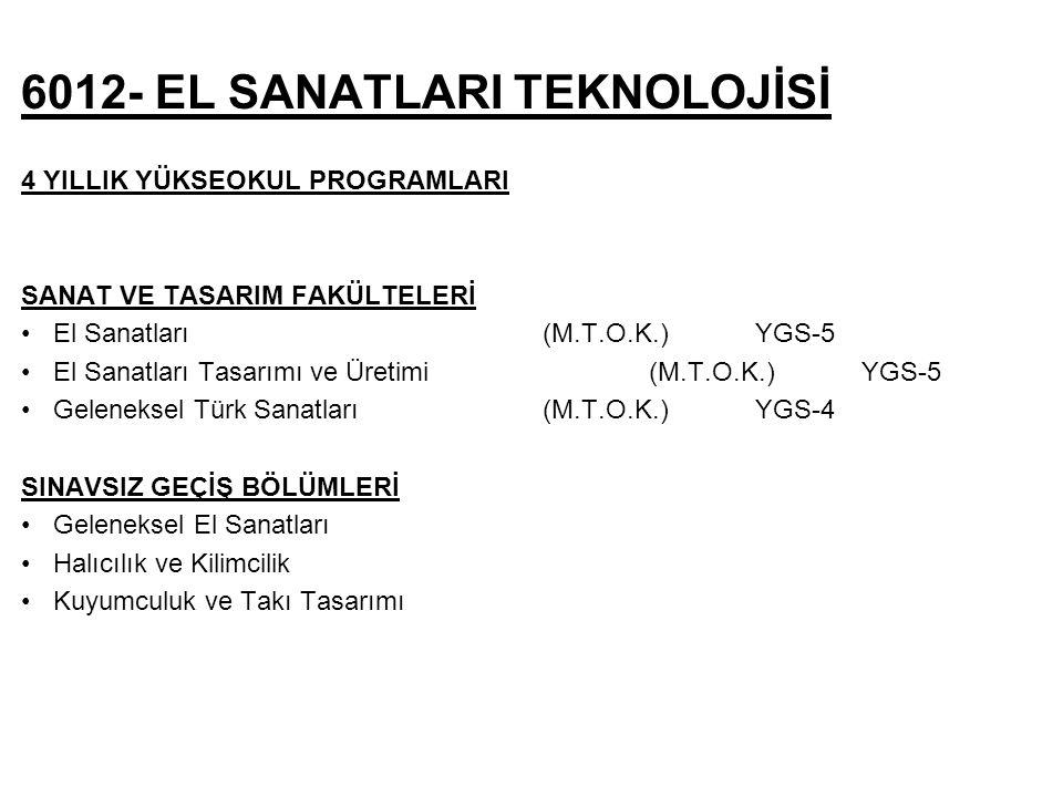 6012- EL SANATLARI TEKNOLOJİSİ 4 YILLIK YÜKSEOKUL PROGRAMLARI SANAT VE TASARIM FAKÜLTELERİ El Sanatları (M.T.O.K.) YGS-5 El Sanatları Tasarımı ve Üretimi (M.T.O.K.) YGS-5 Geleneksel Türk Sanatları (M.T.O.K.) YGS-4 SINAVSIZ GEÇİŞ BÖLÜMLERİ Geleneksel El Sanatları Halıcılık ve Kilimcilik Kuyumculuk ve Takı Tasarımı