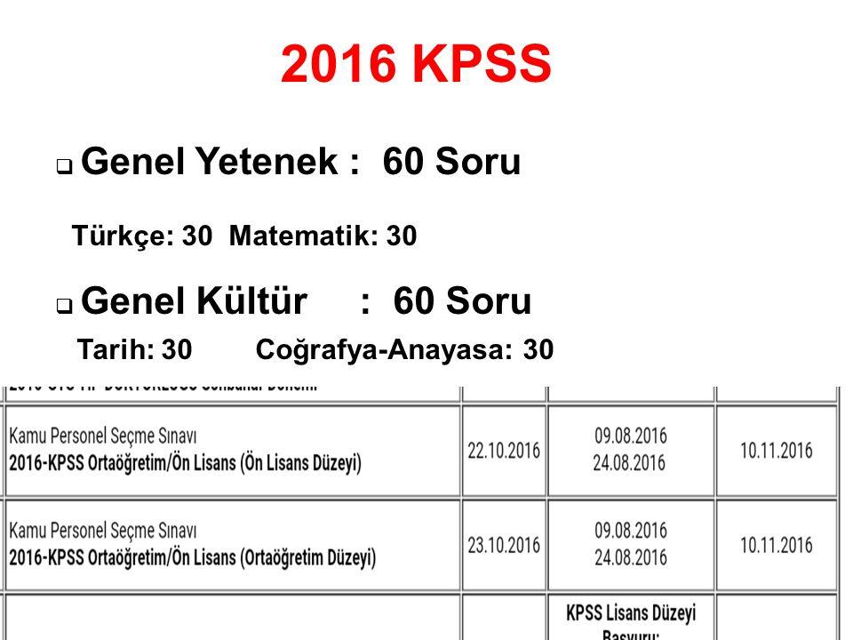 2016 KPSS  Genel Yetenek : 60 Soru Türkçe: 30 Matematik: 30  Genel Kültür : 60 Soru Tarih: 30 Coğrafya-Anayasa: 30