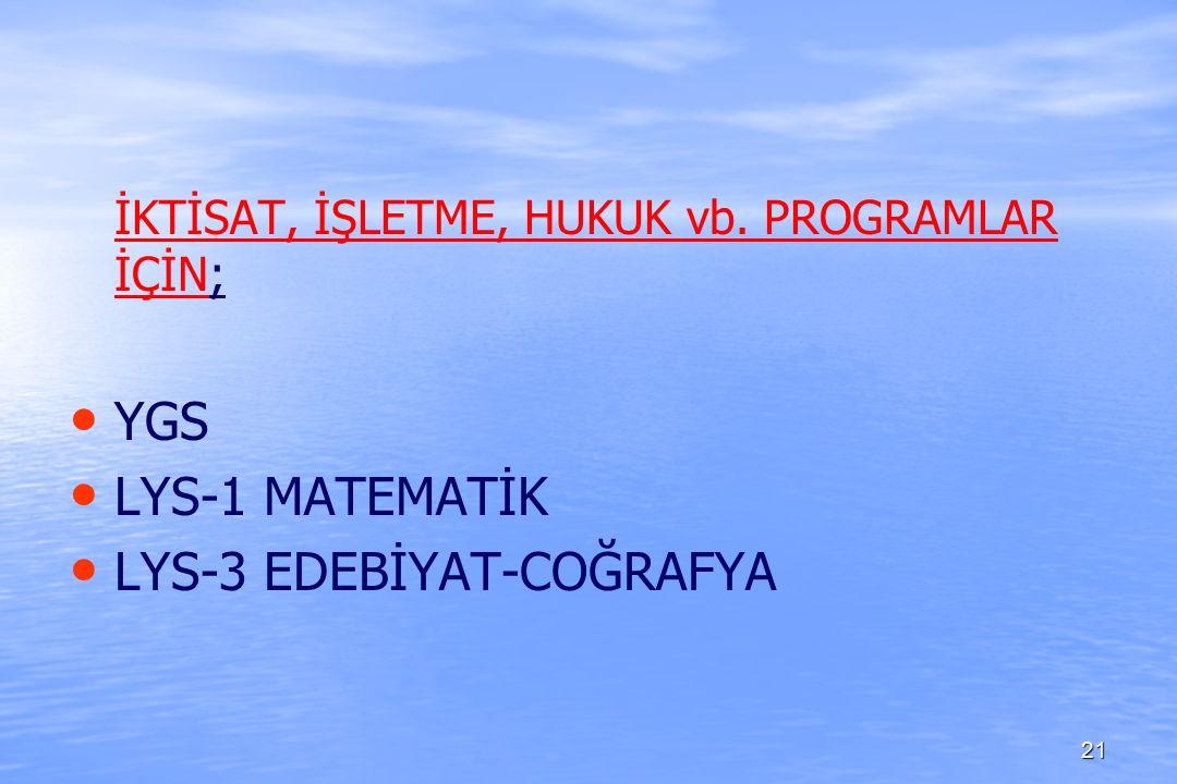 İKTİSAT, İŞLETME, HUKUK vb. PROGRAMLAR İÇİN; YGS LYS-1 MATEMATİK LYS-3 EDEBİYAT-COĞRAFYA 21