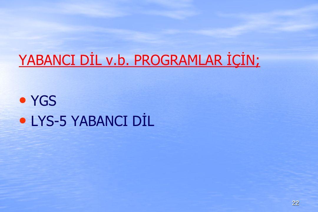 YABANCI DİL v.b. PROGRAMLAR İÇİN; YGS LYS-5 YABANCI DİL 22