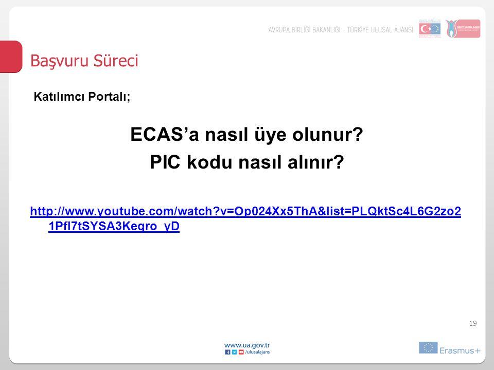 19 Başvuru Süreci Katılımcı Portalı; ECAS'a nasıl üye olunur.