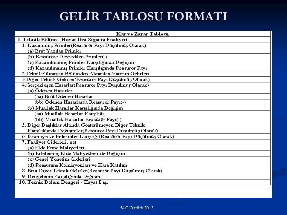 GELİR TABLOSU FORMATI © C.Öztürk 2013