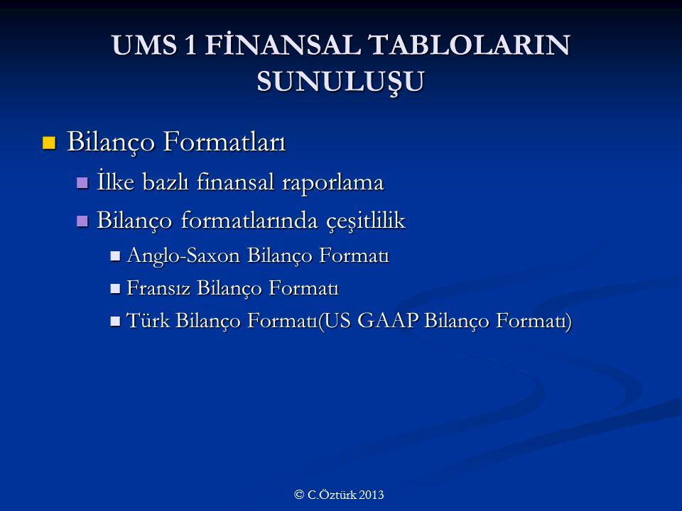 UMS 1 FİNANSAL TABLOLARIN SUNULUŞU Bilanço Formatları Bilanço Formatları İlke bazlı finansal raporlama İlke bazlı finansal raporlama Bilanço formatlarında çeşitlilik Bilanço formatlarında çeşitlilik Anglo-Saxon Bilanço Formatı Anglo-Saxon Bilanço Formatı Fransız Bilanço Formatı Fransız Bilanço Formatı Türk Bilanço Formatı(US GAAP Bilanço Formatı) Türk Bilanço Formatı(US GAAP Bilanço Formatı) © C.Öztürk 2013