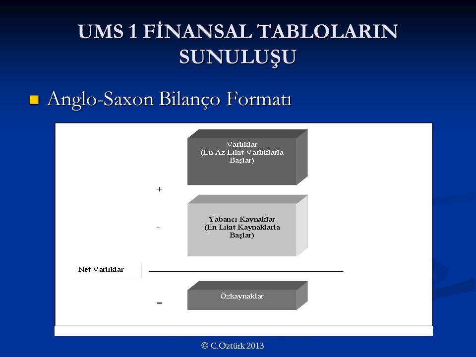 UMS 1 FİNANSAL TABLOLARIN SUNULUŞU Anglo-Saxon Bilanço Formatı Anglo-Saxon Bilanço Formatı © C.Öztürk 2013