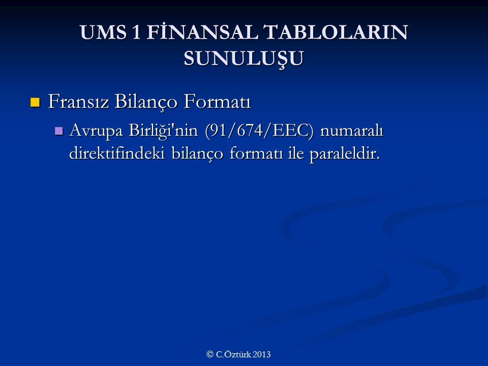 UMS 1 FİNANSAL TABLOLARIN SUNULUŞU Fransız Bilanço Formatı Fransız Bilanço Formatı Avrupa Birliği nin (91/674/EEC) numaralı direktifindeki bilanço formatı ile paraleldir.
