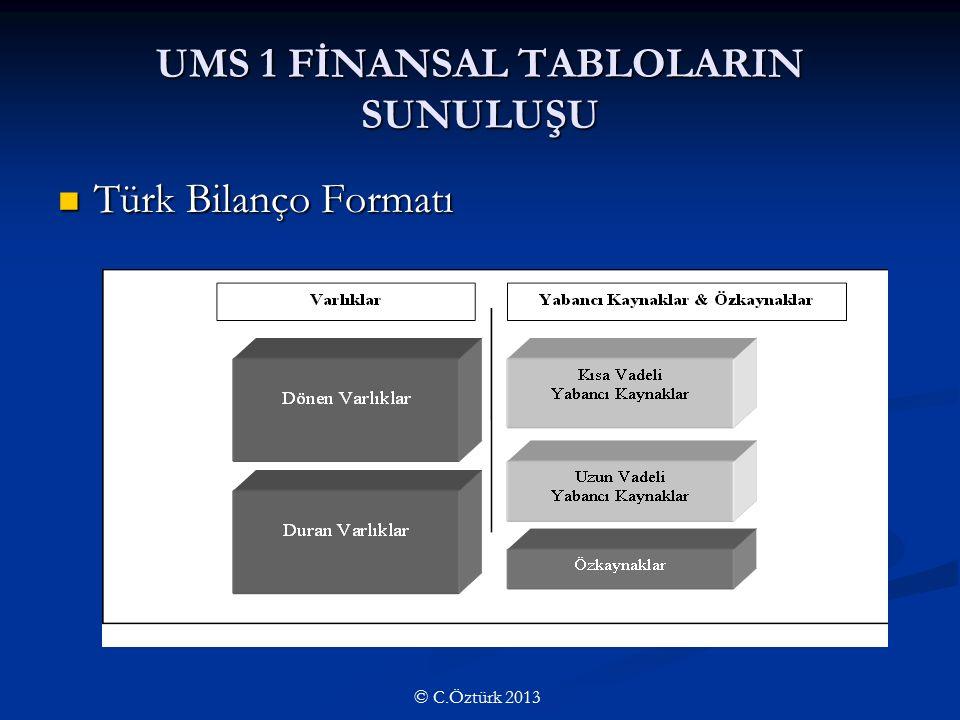 UMS 1 FİNANSAL TABLOLARIN SUNULUŞU Türk Bilanço Formatı Türk Bilanço Formatı © C.Öztürk 2013