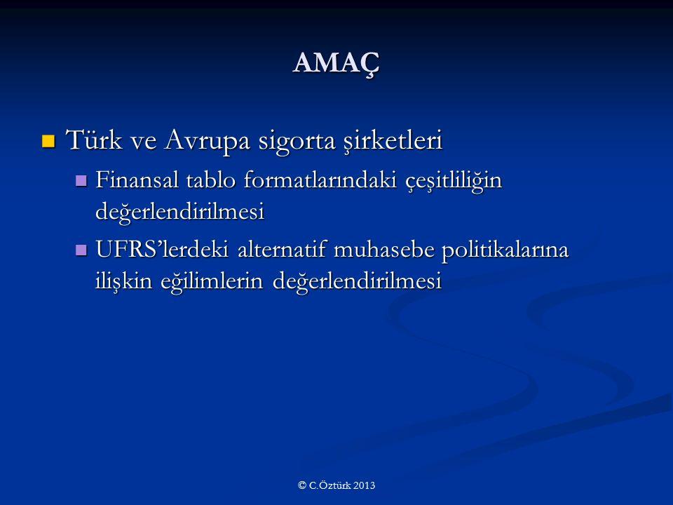 AMAÇ Türk ve Avrupa sigorta şirketleri Türk ve Avrupa sigorta şirketleri Finansal tablo formatlarındaki çeşitliliğin değerlendirilmesi Finansal tablo formatlarındaki çeşitliliğin değerlendirilmesi UFRS'lerdeki alternatif muhasebe politikalarına ilişkin eğilimlerin değerlendirilmesi UFRS'lerdeki alternatif muhasebe politikalarına ilişkin eğilimlerin değerlendirilmesi © C.Öztürk 2013