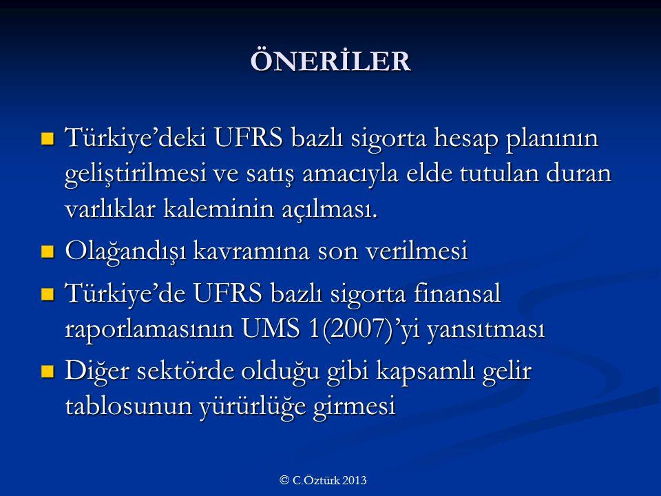 ÖNERİLER Türkiye'deki UFRS bazlı sigorta hesap planının geliştirilmesi ve satış amacıyla elde tutulan duran varlıklar kaleminin açılması.