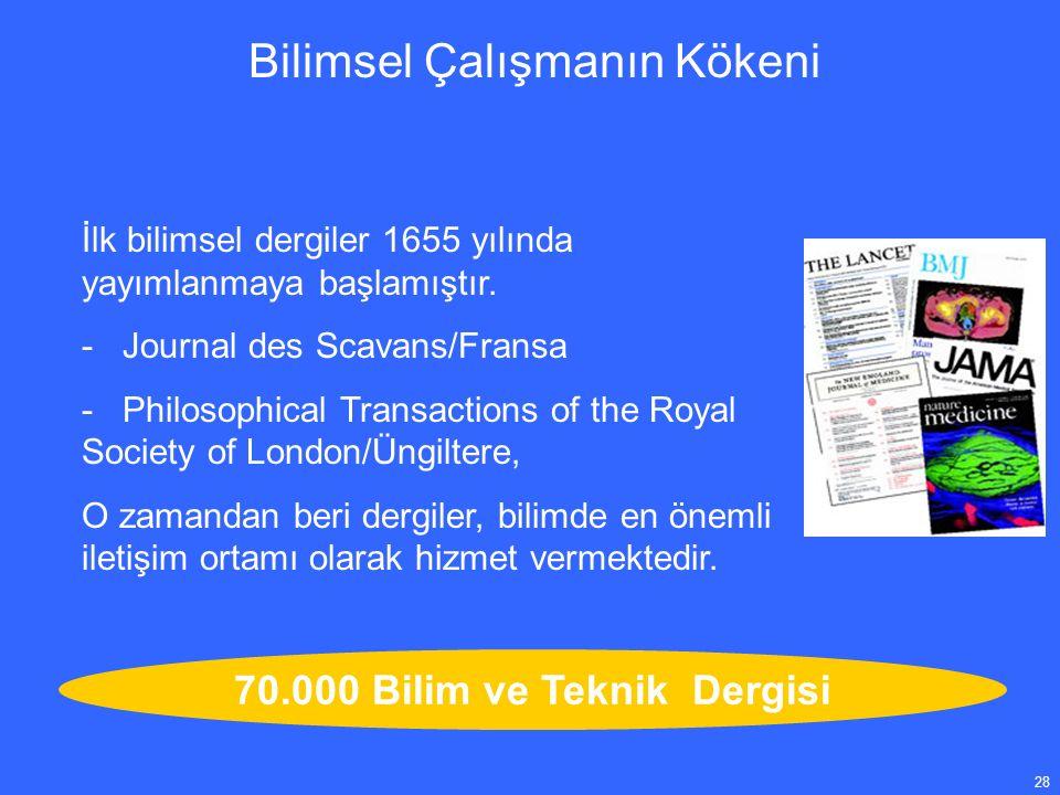 28 İlk bilimsel dergiler 1655 yılında yayımlanmaya başlamıştır.