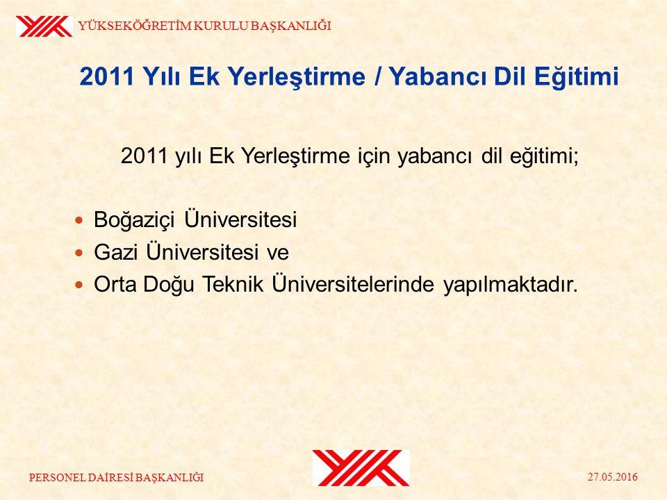 2011 Yılı Ek Yerleştirme / Yabancı Dil Eğitimi 2011 yılı Ek Yerleştirme için yabancı dil eğitimi; Boğaziçi Üniversitesi Gazi Üniversitesi ve Orta Doğu Teknik Üniversitelerinde yapılmaktadır.