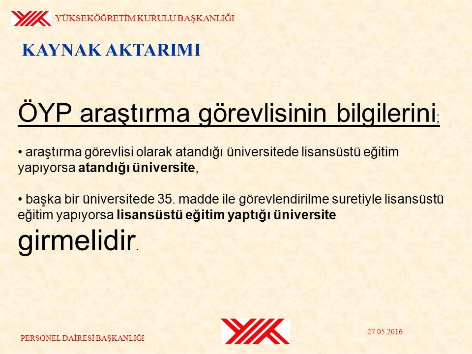 ÖYP araştırma görevlisinin bilgilerini ; araştırma görevlisi olarak atandığı üniversitede lisansüstü eğitim yapıyorsa atandığı üniversite, başka bir üniversitede 35.