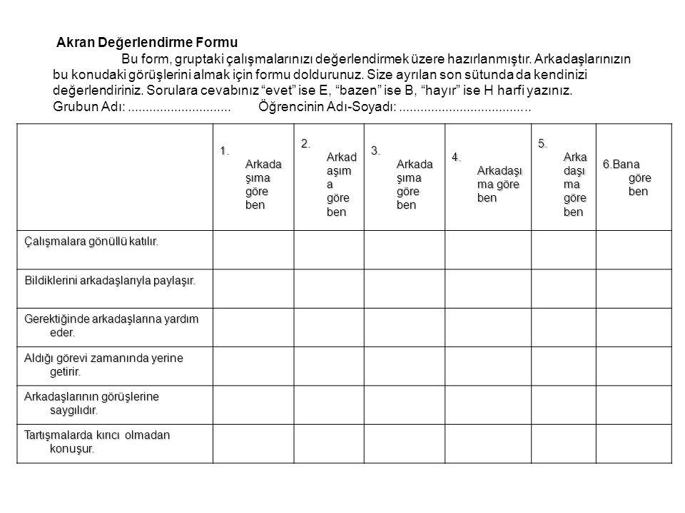 Akran Değerlendirme Formu Bu form, gruptaki çalışmalarınızı değerlendirmek üzere hazırlanmıştır.