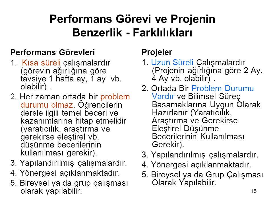 Performans Görevi ve Projenin Benzerlik - Farklılıkları Performans Görevleri 1.