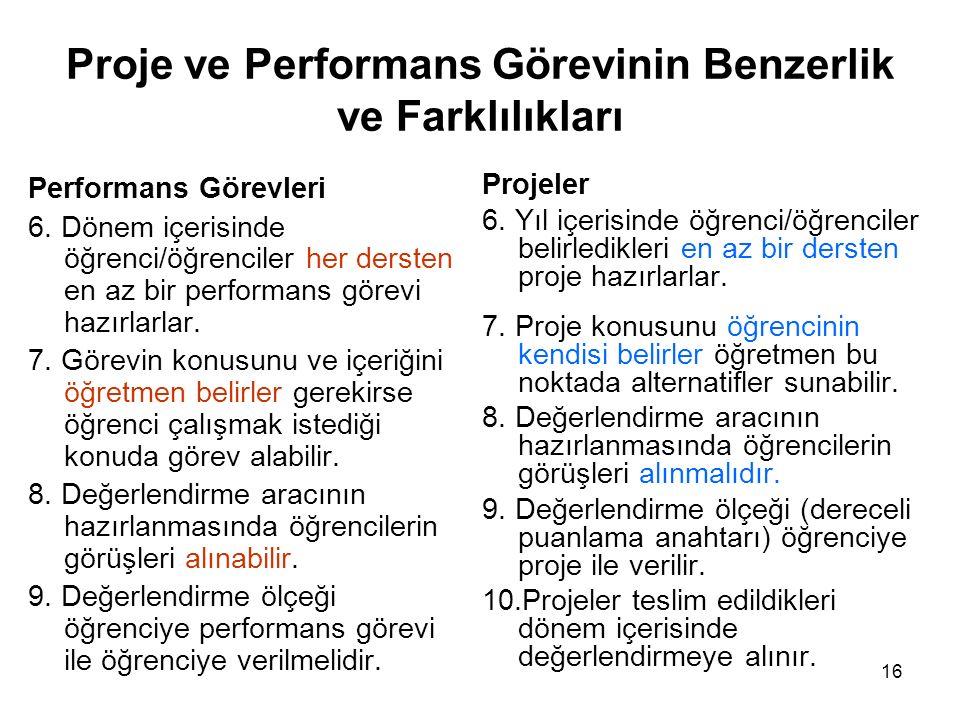 Proje ve Performans Görevinin Benzerlik ve Farklılıkları Performans Görevleri 6.