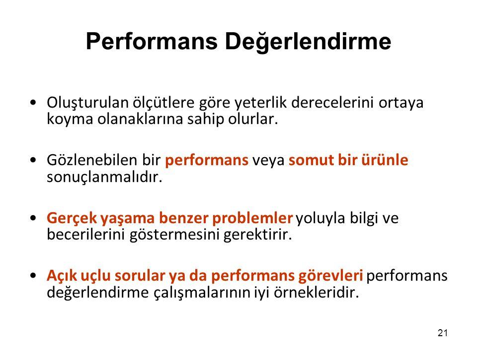 Performans Değerlendirme Oluşturulan ölçütlere göre yeterlik derecelerini ortaya koyma olanaklarına sahip olurlar.