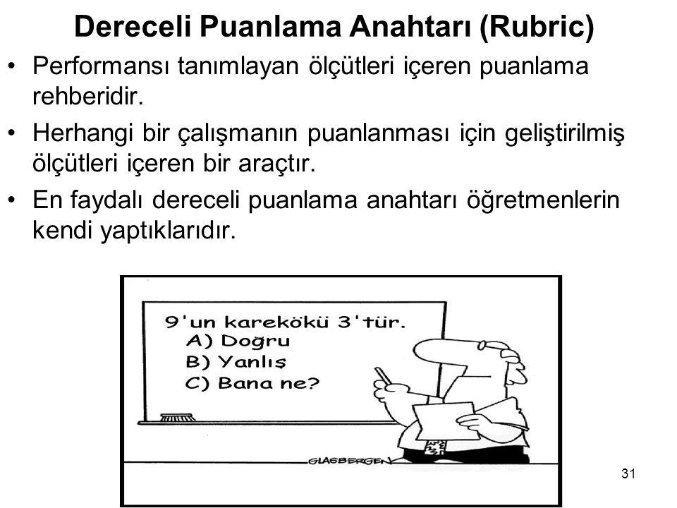 Dereceli Puanlama Anahtarı (Rubric) Performansı tanımlayan ölçütleri içeren puanlama rehberidir.