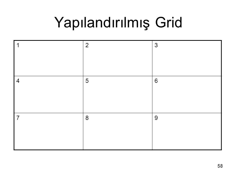 Yapılandırılmış Grid 58 123 456 789