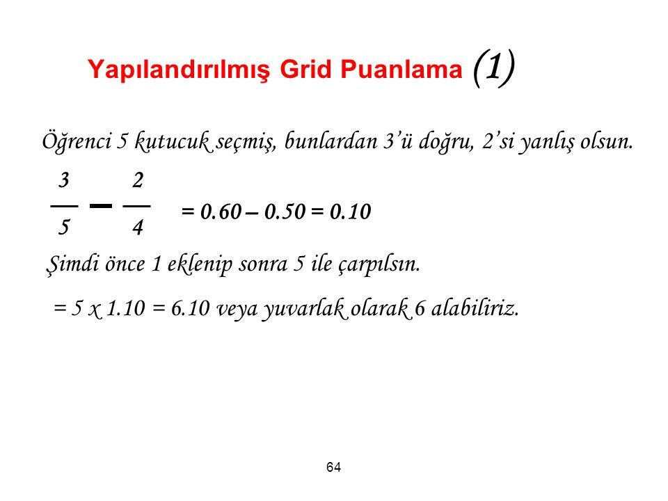 Yapılandırılmış Grid Puanlama (1) 64 3 2 5 4 Öğrenci 5 kutucuk seçmiş, bunlardan 3'ü doğru, 2'si yanlış olsun.