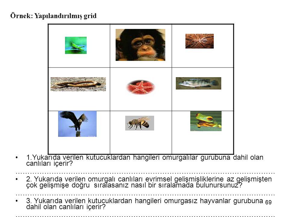 1.Yukarıda verilen kutucuklardan hangileri omurgalılar gurubuna dahil olan canlıları içerir.