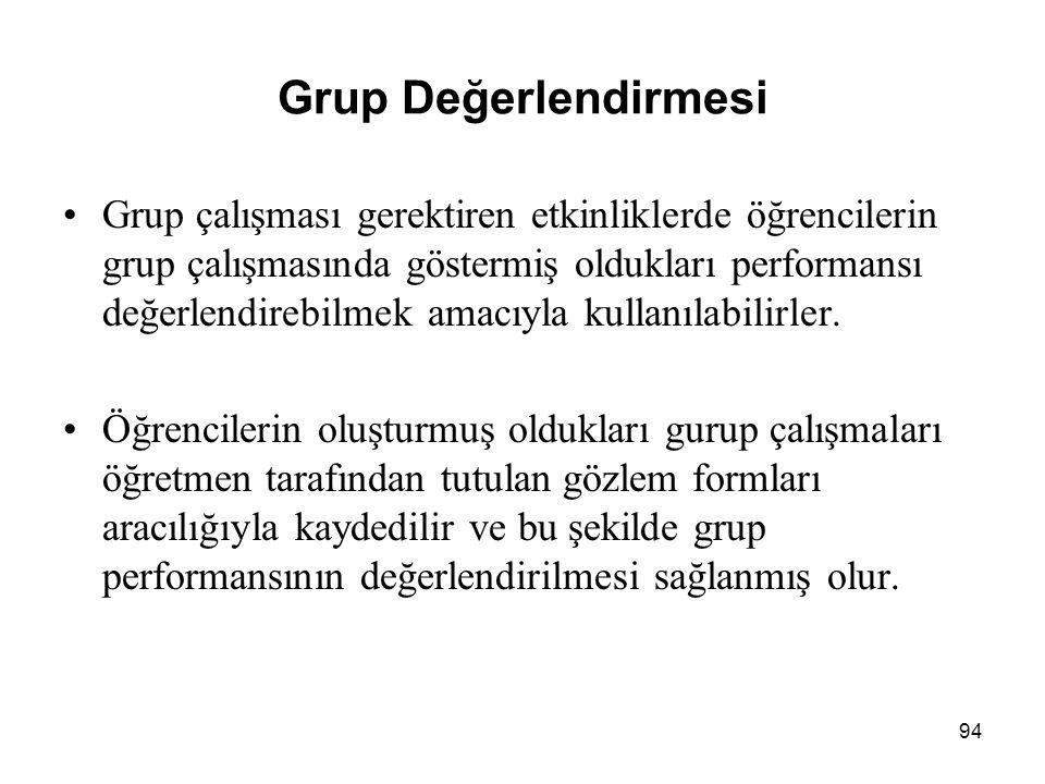 Grup Değerlendirmesi Grup çalışması gerektiren etkinliklerde öğrencilerin grup çalışmasında göstermiş oldukları performansı değerlendirebilmek amacıyla kullanılabilirler.